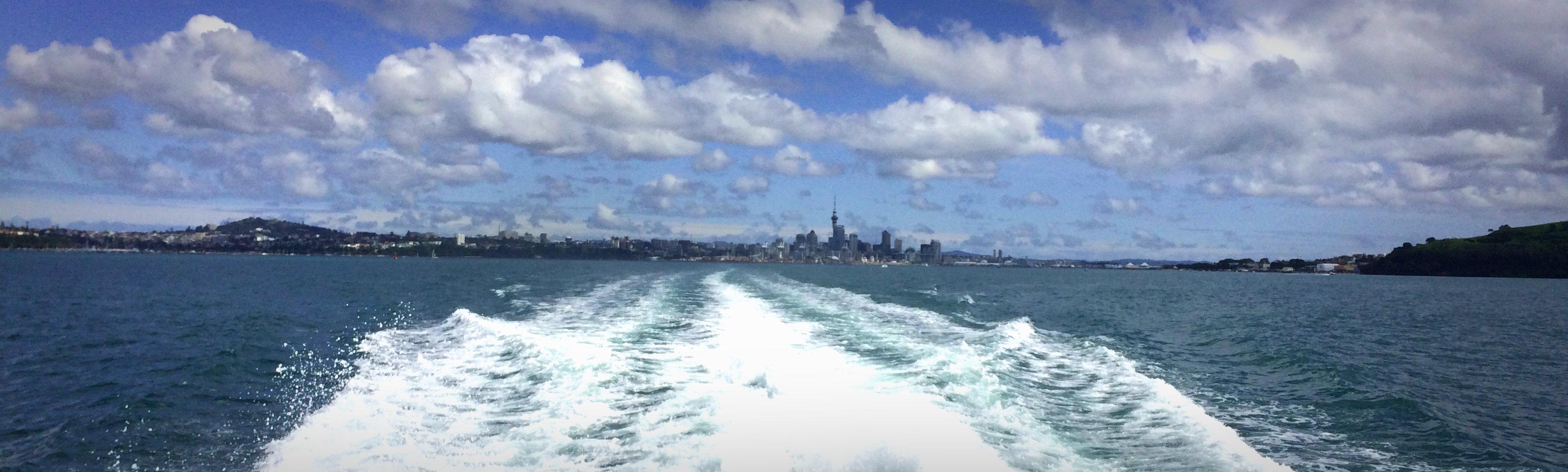on the boat to Waiheke Island